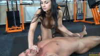Free porn pics of Femdom Abbie ballbusting her slave and gives him a blowjob 1 of 7 pics