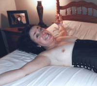 Free porn pics of Mature wife hotel room stockings blindfolded bondage tied brunet 1 of 5 pics