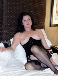 Free porn pics of Mature brunette wife REDUX blindfolded stockings hotel bdsm fuck 1 of 24 pics