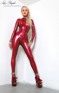Free porn pics of Red latex girl in steel 1 of 81 pics